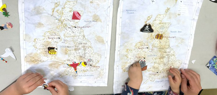 Maps made by children on a previous session