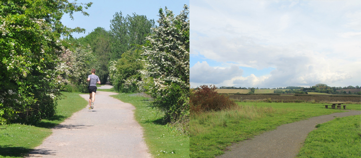 Left: a man jogs in the Millennium Country Park, Right: Conquest Wood pathway
