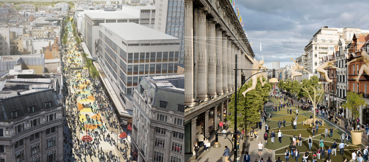 Designs for a pedestrianised Oxford Street - Credit to Dezeen