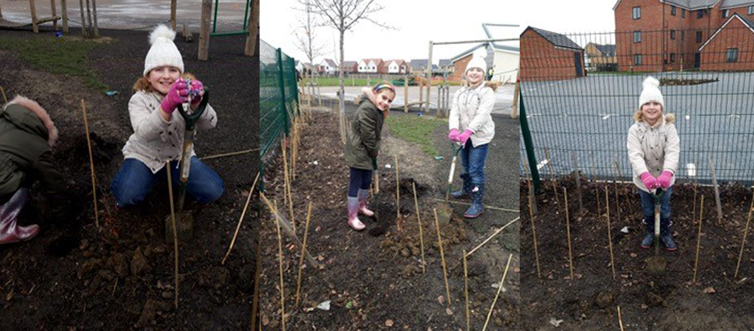 2 young girls plant trees