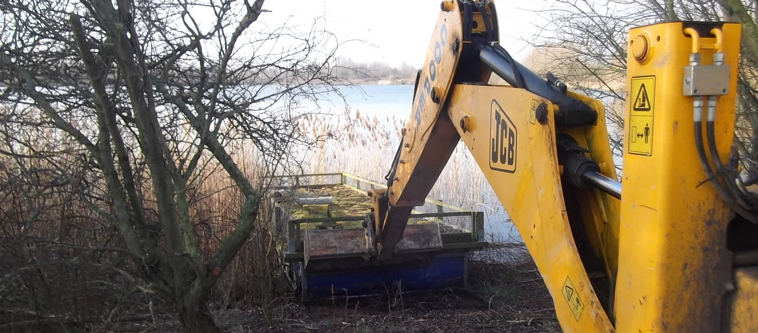 Tern raft being fixed at the Grange Estate