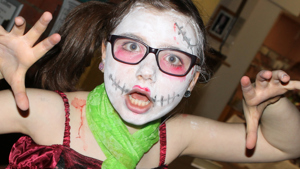 Child in face paint for Halloween