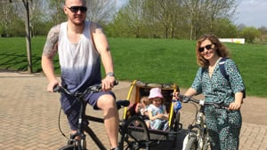 A family on bikes theyve hired at the Forest Centre