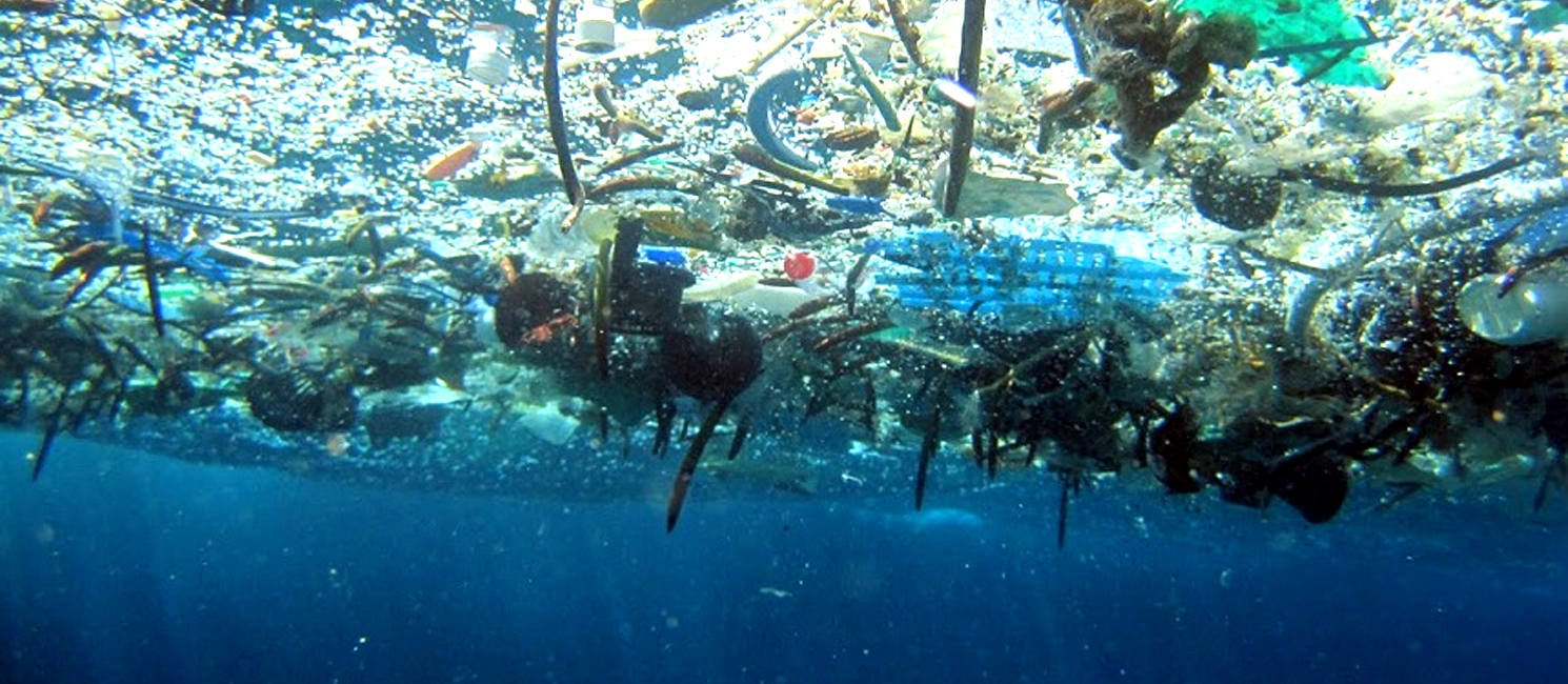 Plastic bottles and other waste on the surface of the ocean