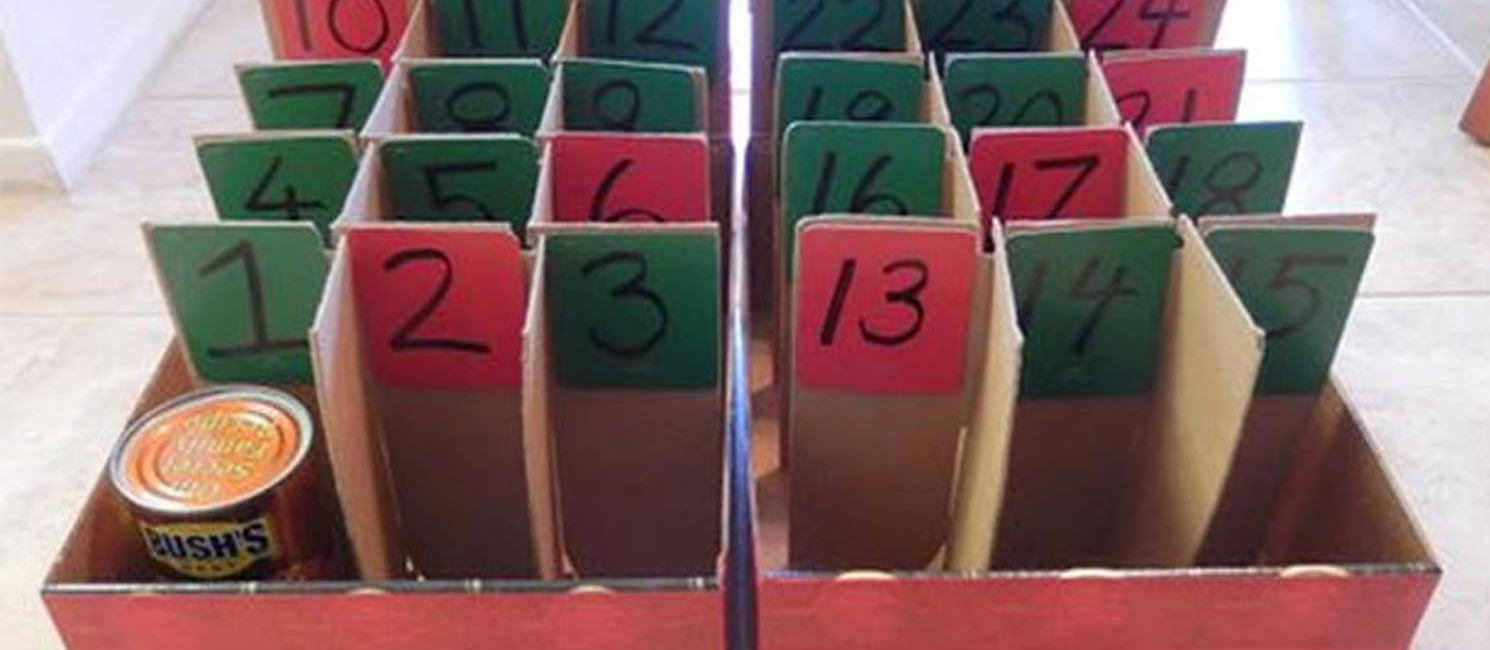 A box turned into a reverse advent calendar