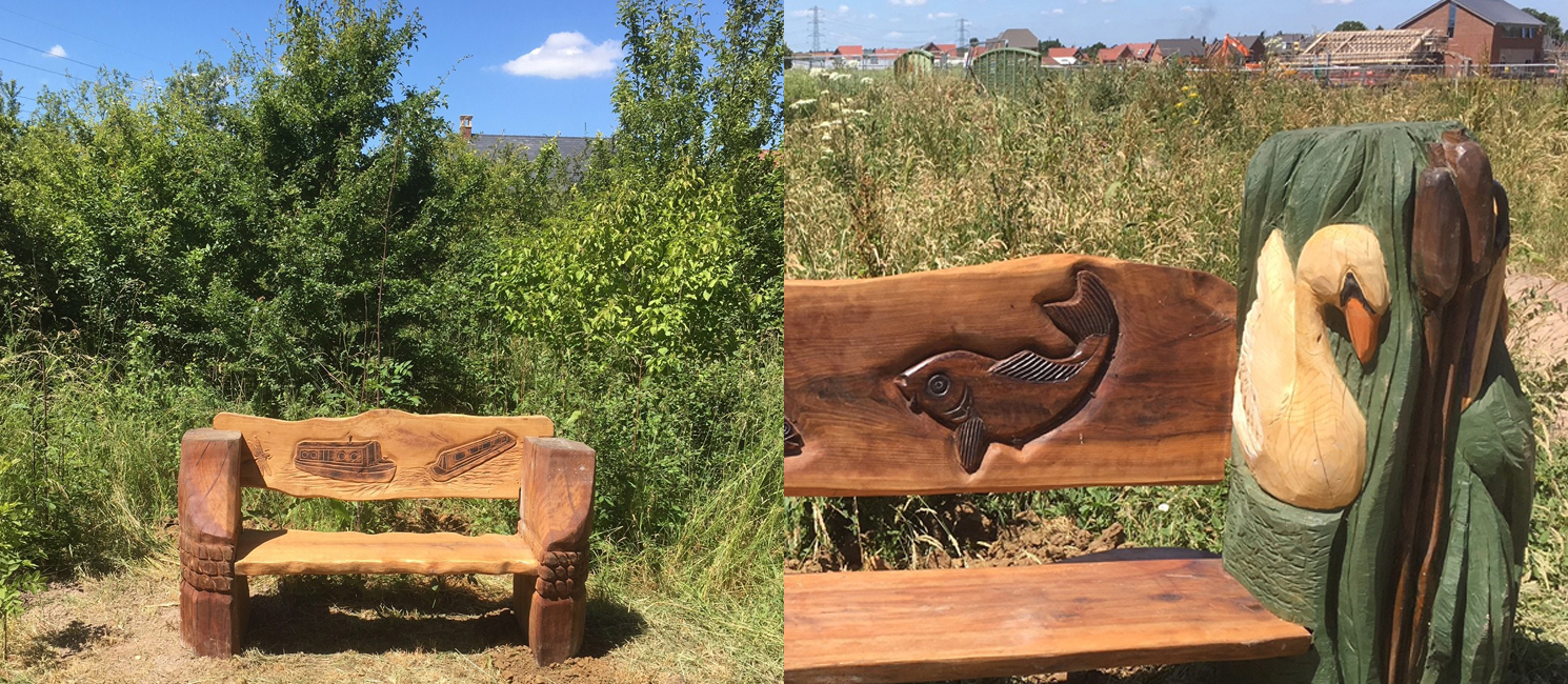 Carved benches in the Millennium Country Park