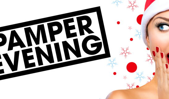 Woman with red lipstick and santa hat, and the text Pamper Evening