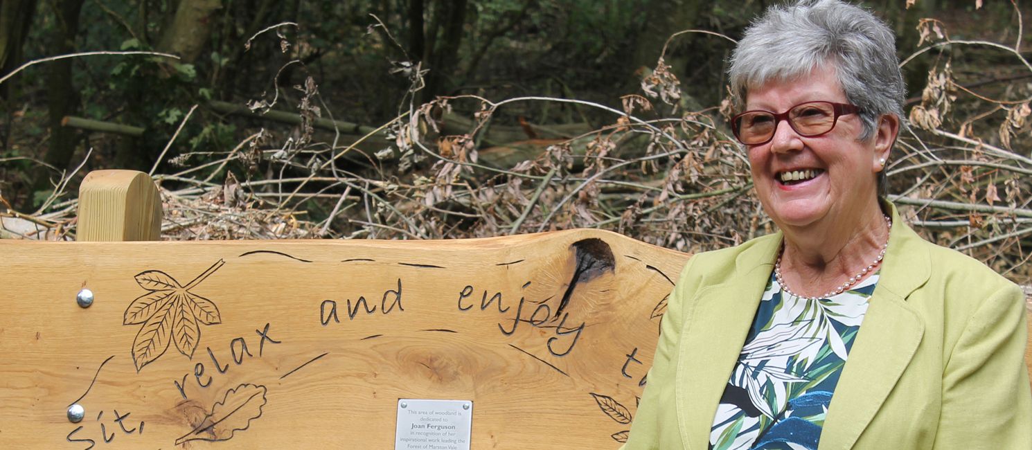Volunteer Joan Ferguson sits on her new bench