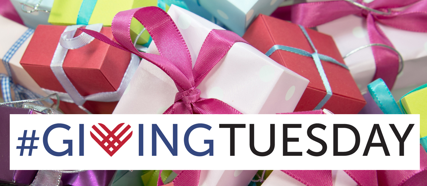Giving Tuesday logo over an image of gifts