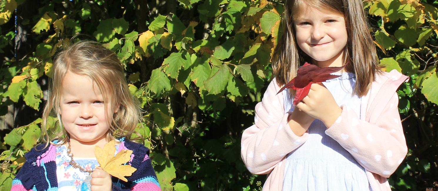 Two girls holding autumn leaves