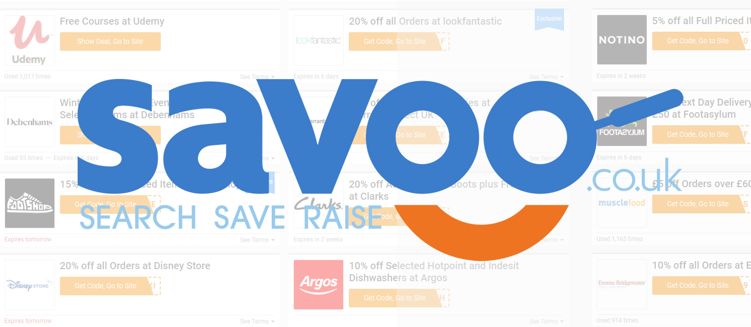 Savoo search engine logo and preview of site