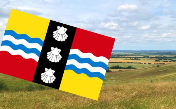 A view across Bedfordshire with the county flag