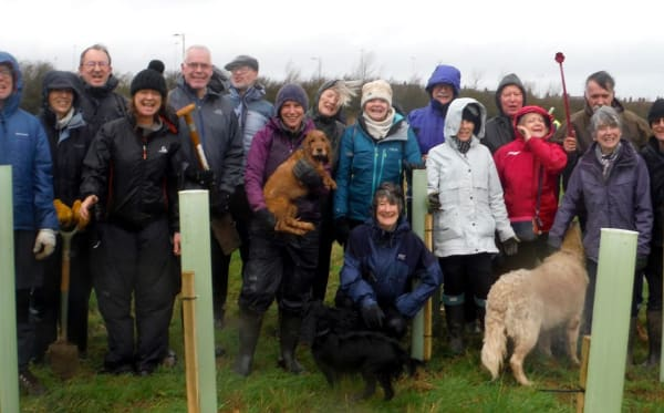 The Macmillan family and friends at our Tree Planting