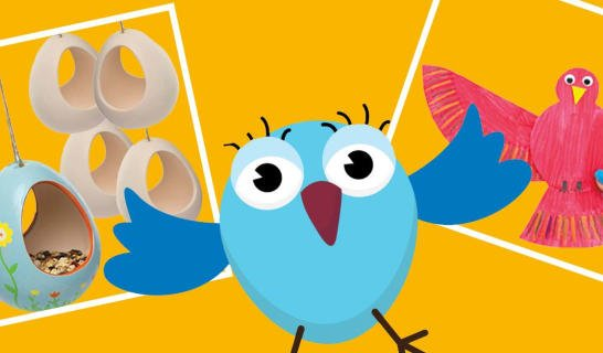 Cartoon bird and the crafts that children will be making at this event
