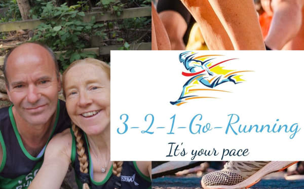 A selfie of Dean and Fiona from 321 running and a picture of runners, with the 321 running logo
