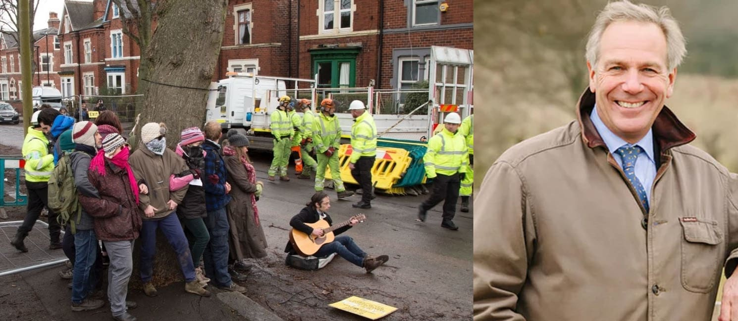 [left] protesters in Sheffield stopping a tree being felled, [right] Sir William Worsley