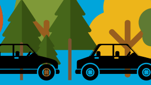 cars and trees graphic
