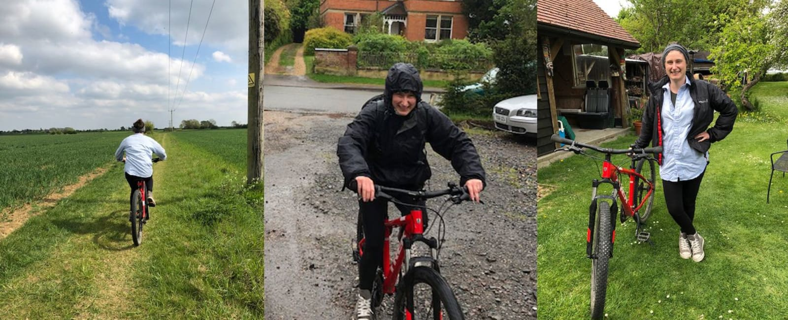 Hannah Carr doing her 26 mile bike ride in all weathers