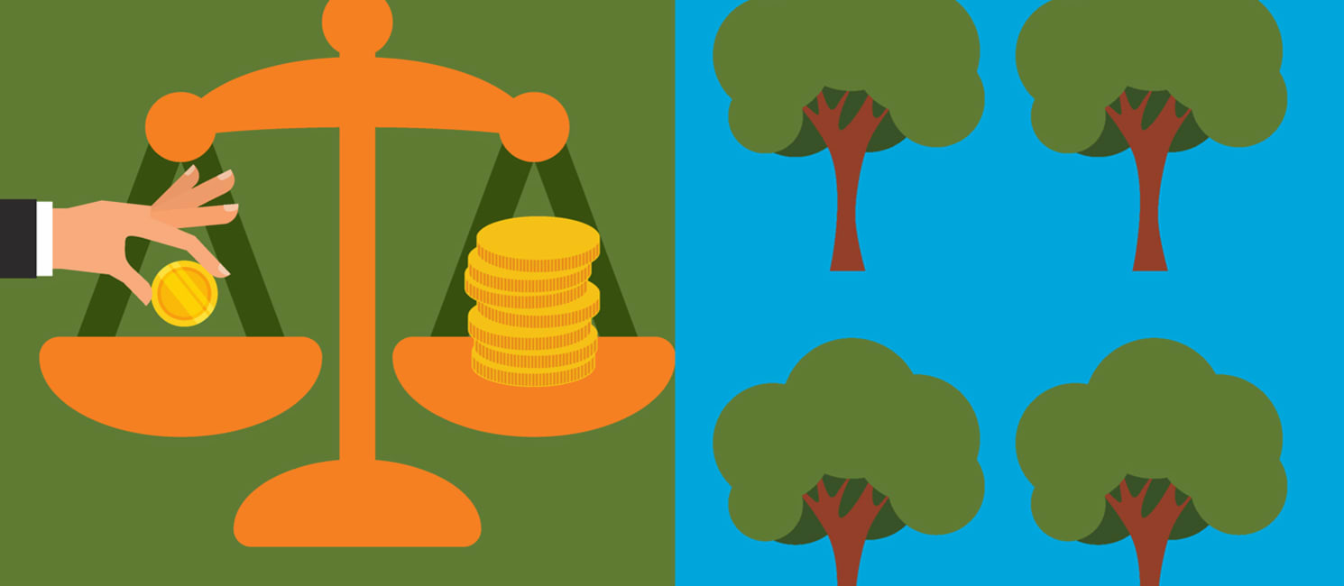 Graphic showing money on a scale and trees
