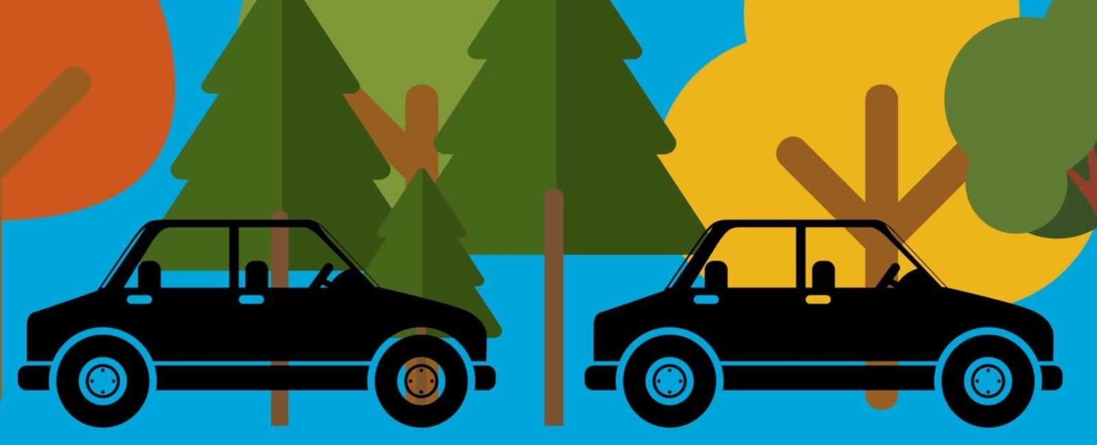 Graphic of cars and trees