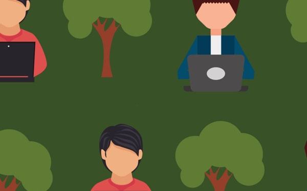 Graphic of a man at a laptop and trees